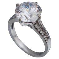 Sterling Silver Large CZ Faux Diamond Ring Sz 6.5