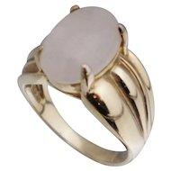 Rose Pink Quartz Sterling Gold Vermeil Ring Sz 8