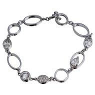 """Sterling CZ Openwork Toggle Bracelet  7 1/4"""""""