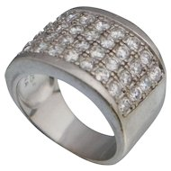 Silpada CZ Cluster 4 Row Channel Set Sterling Ring Band R1405 Sz 5.25