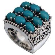 Sterling Blue Glass Filigree Ring Sz 8.25