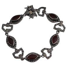 """Art Deco Style Sterling Carnelian Marcasite Bracelet 7 1/2"""""""