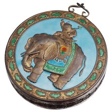 Chinese Export Sterling Mirror Enamel Elephant Imperial Boy Pedant Necklace