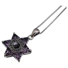 Star of David Sterling Amethyst Marcasite Pendant Necklace 18""