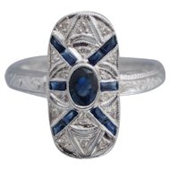 14K Diamond Sapphire Art Deco Style Ring Sz 7.25