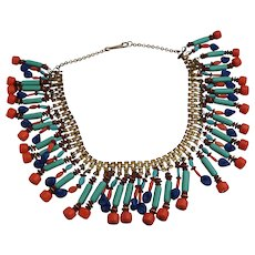"INCREDIBLE Art Deco Egyptian Revival Bib Necklace Costume Teal Blue Coral Red 20"" Collar Choker"