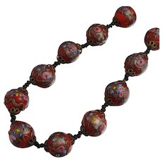 "Vintage Venetian Murano Beads Italian Wedding Cake Red 16"" Roses"