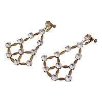 Miriam Haskell Articulated Rhinestone Chandelier Drop Earrings 50 Carats Art Deco