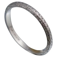 CRISP Platinum Art Deco Band Sz 6.5 Ring