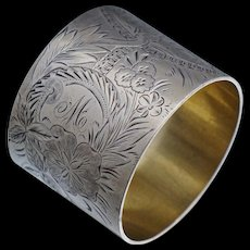 Sterling Victorian Aesthetic Floral Napkin Ring