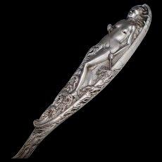 Art Nouveau Nude Woman Sterling Souvenir Spoon Newark Ohio