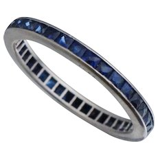 French Cut Sapphire Art Deco Platinum Eternity Band Sz 9 Stack