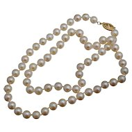 "14K 6mm Cultured Pearl Necklace 18"" Strand"
