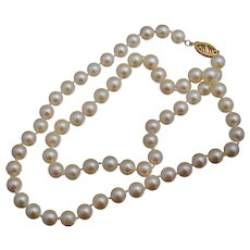 """14K 6mm Cultured Pearl Necklace 18"""" Strand"""
