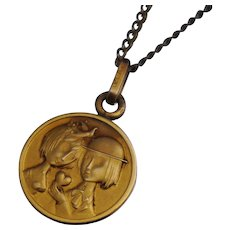 "French Murat ""The Lovers"" by Peynet  18K Gold Filled Necklace Pendant 16"" Les Amoureux de Peynet"