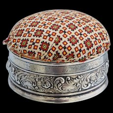 Gorham Sterling Repousee Round Pin Cushion Roses