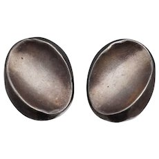 Antonio Pineda Sterling Modernist Oval Earrings Mexican Clip 970