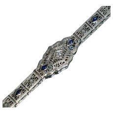 Art Deco 14K White Gold Diamond Sapphire Filigree Bracelet 7 1/4""