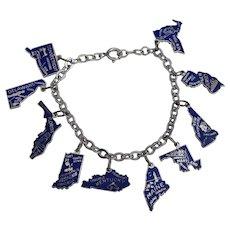 Vintage US State Sterling Enamel Travel Charm Bracelet Beau Blue