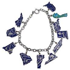 Vintage US State Sterling Enamel Travel Charm Bracelet Beau