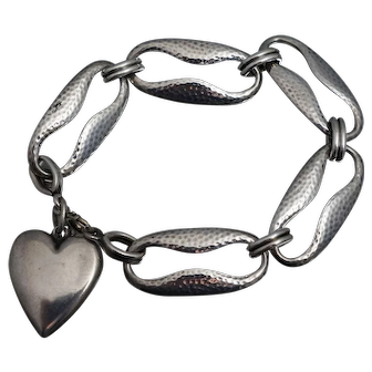 "Vintage Sterling Puffy Heart Charm Bracelet 7 3/4"" Retro"
