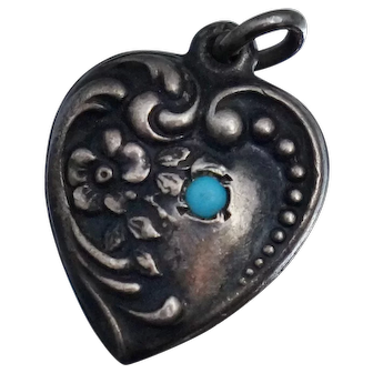 Vintage Sterling Puffy Heart Turquoise Blue Glass Charm