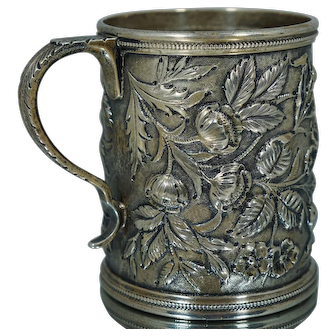 1902 Kirk & Son Sterling Floral Hand Chased Cup Mug Handle Art Nouveau