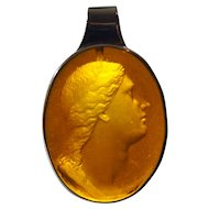 14K Victorian Intaglio Glass Pendant Neoclassical Necklace