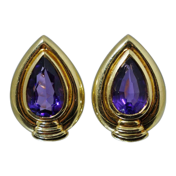 Cartier 18K Gold 5.80 ct Amethyst Earrings Designer