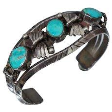 Native American Sterling Navajo Blue Turquoise Cuff Bangle Bracelet Wide Vintage