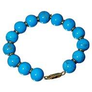 18K Dyed Blue Turquoise Bead Bracelet