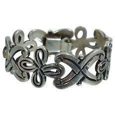 """Vintage Mexican Heavy Eras Sterling Bracelet Spratling Era 7 1/2"""""""