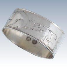 David Andersen 830 Silver Fox Bear Rabbit Animal Napkin Ring Sterling