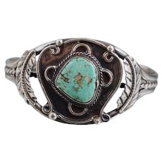 Vintage Native American Sterling Turquoise Cuff Bracelet Navajo