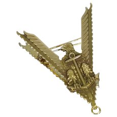 Large 14K Gold WW2 V for Victory Eagle Anchor Pin Brooch US Navy Army Marine USAAF Retro Patriotic