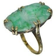 FINEST 14K Walter Lampl Jade Ring Sz 5 Floral Art Deco