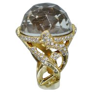 UNIQUE 18K Diamond Mother of Pearl Faceted Quartz Ring Sz 8.5 Custom Pave
