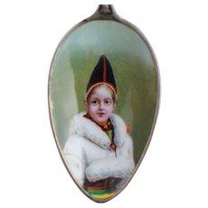 Sterling Enamel Portrait Spoon Sweden Royal Family of Child 800 Silver 830 Antique Souvenir