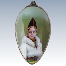 Sterling Enamel Portrait Spoon Sweden Royal Family of Child 800 Silver 830 Antique Souvenir