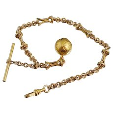 1929 East Bay Basketball Charm on Victorian Watch Chain 14K Gold Fill San Francisco Spalding