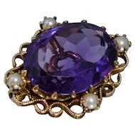 Victorian 14K Amethyst Pearl Pin Brooch Pendant Necklace Filigree