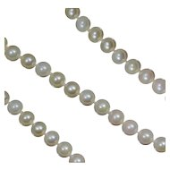 "14K Cultured Pearl Necklace 17"" 6 mm 6mm White Strand"