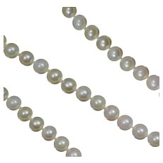 """14K Cultured Pearl Necklace 17"""" 6 mm 6mm White Strand"""