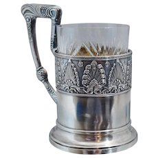 Outstanding Imperial Russian Sterling Podstakannik Tea Glass Holder Moscow Gold Gilt Crystal
