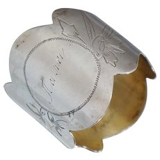 Imperial Russian Sterling Napkin Ring Silver Gold Gilt Floral