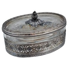 Antique French 950 Sterling Silver Cut Glass Box Floral Lidded