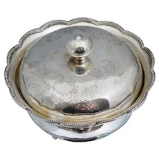 Chinese Export Sterling Silver Lidded Bowl Dish Bat Bats Floral Signed Tea Caddy