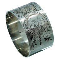 HEAVY Victorian Sterling Silver Napkin Ring with Birds Clover Flowers Floral