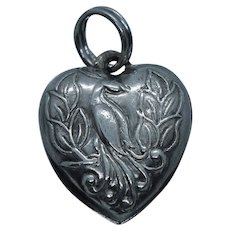 Vintage Sterling Peacock Bird Puffy Heart Charm