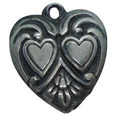 Vintage Puffy Heart Charm Double Heart Gram
